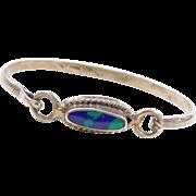 "Sterling Silver Azurite Malachite Bracelet  ~ 7 1/2"""