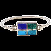 Sterling Silver Turquoise, Lapis, Malachite and Amazonite Stone Bracelet