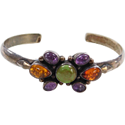 Sterling Silver Amethyst, Amber and Verasite Cuff Bracelet