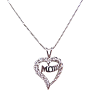 """Sterling Silver Faux Diamond MOM Heart Necklace ~ 18"""""""