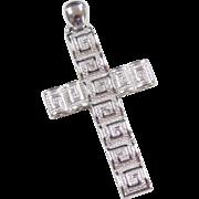 Sterling Silver Greek Key Cross Pendant