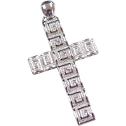 Sterling Silver Greek Key Cross Pendant