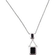 """Sterling Silver Onyx Necklace ~ 16"""" ~ 18"""""""