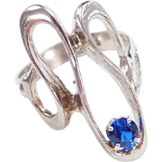 Sterling Silver Faux Sapphire Modernist Ring