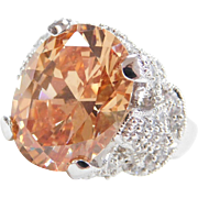 Sterling Silver Big Faux Diamond and Faux Golden Topaz Ring