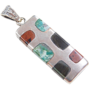 Sterling Silver Green Turquoise, Red Jasper and Sheen Obsidian Pendant