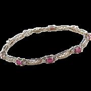 "Sterling Silver Ruby and Diamond Bracelet  ~ 7"""