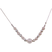 Sterling Silver Bead Necklace ~ 16""