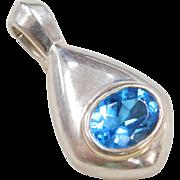 Sterling Silver Blue Topaz Enhancer Pendant