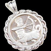 Sterling Silver Sagittarius Coin Pendant