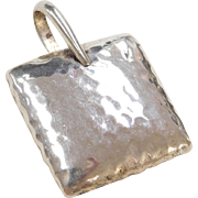 Sterling Silver Silpada Hammered Square Pendant
