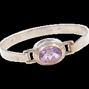 "Sterling Silver Amethyst Bangle Bracelet ~ 6 3/4"""