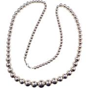"""Sterling Silver LONG Graduated Bead Necklace ~ 30"""" ~ 53.7 Grams"""