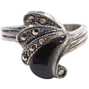 Sterling Silver Onyx and Marcasite Swirl Ring