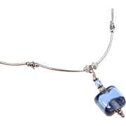 "Sterling Silver Blue Glass Bead Necklace ~ 13 1/2"" - 18"""