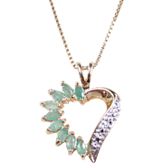 """Sterling Silver Gold Vermeil Emerald and Diamond Heart Necklace ~ 18"""""""