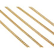 """Sterling Silver Long Gold Vermeil Curb Link Chain ~ 24"""""""