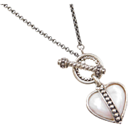 """Sterling Silver Mother of Pearl Heart Necklace ~ 18"""""""
