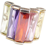 Sterling Silver Gold Vermeil Colorful Glass Ring