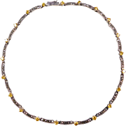 """Sterling Silver Marcasite and Yellow Ice Necklace ~ 17"""""""