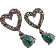 Sterling Silver Marcasite and Malachite Heart Earrings
