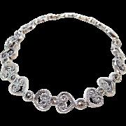 "Sterling Silver Marcasite Heart Bracelet ~ 7 1/4"""
