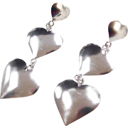 Sterling Silver Long Heart Earrings