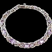 "Sterling Silver Amethyst and Faux Diamond Bracelet ~ 7"""