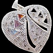 Sterling Silver Marcasite, Amethyst, Blue Topaz and Garnet Heart Pendant / Pin