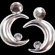 Sterling Silver BIG Faux Diamond Crescent Moon Earrings