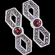 Sterling Silver Garnet and Marcasite Earrings