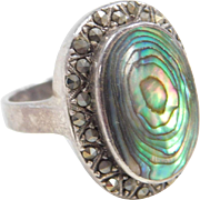Sterling Silver Abalone Shell and Marcasite Ring