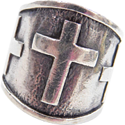 Sterling Silver Wide Cross Ring