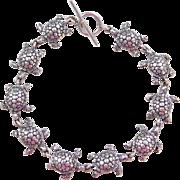"Sterling Silver Turtle Bracelet ~ 8"""