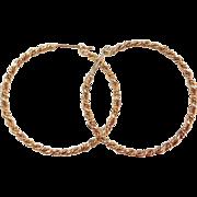 Sterling Silver Gold Vermeil Twisted Hoop Earrings