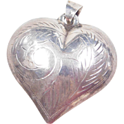 Sterling Silver BIG Puff Heart Pendant with Etching