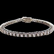 "Sterling Silver Faux Diamond Tennis Bracelet ~ 6 1/2"""