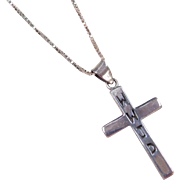 """Sterling Silver Cross Necklace ~ WWJD ~ What Would Jesus Do ~ 18"""""""
