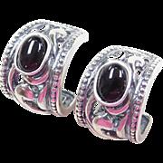 Sterling Silver Ornate Onyx Hoop Earrings