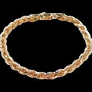 """Sterling Silver Gold Vermeil Rope Bracelet ~ 6 3/4"""""""
