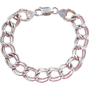 "Sterling Silver Double Link Charm Bracelet ~ 7"""