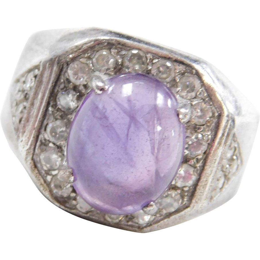Sterling Silver Amethyst and Faux Diamond Ring