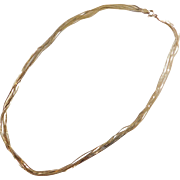 Sterling Silver Gold Vermeil Multi Strand Serpentine Chain / Necklace ~ 18""