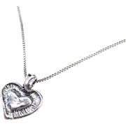 Sterling Silver Heart Necklace ~ 18""