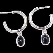 Sterling Silver Hoop Earrings with Onyx Dangle