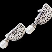 Sterling Silver Ornate Freshwater Pearl Earrings