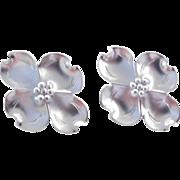 Sterling Silver Big Flower Stud Earrings