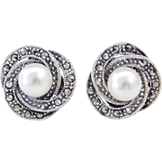 Sterling Silver Cultured Pearl and Marcasite Stud Earrings