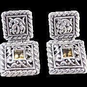 Sterling Silver Ornate Citrine Earrings