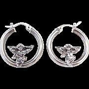 Sterling Silver Angel Hoop Earrings